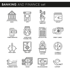 Banking And Finance Linear Icons Set vector image