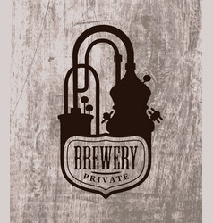 Banner with a private brewery logo vector