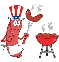 BBQ cooked sausage cartoon vector image