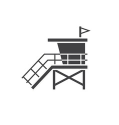 beach life guard house icon vector image