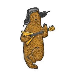 bear with earflaps and balalaika sketch vector image