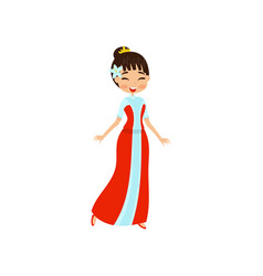 beautiful little oriental princess in red dress vector image