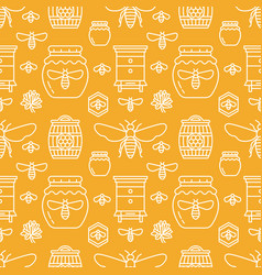 Beekeeping seamless pattern orange color vector