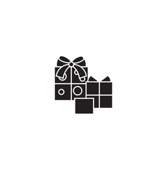 birthday gifts black concept icon birthday vector image