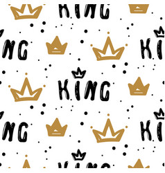 Black and white king crown seamless pattern with vector