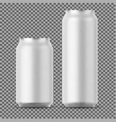 Blank beer can mock up small and big aluminium vector