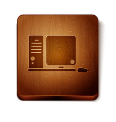 Brown computer monitor with keyboard and mouse vector
