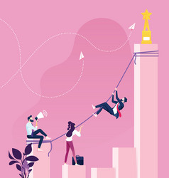Businessman climbing to get top success concept vector