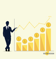 Businessman showing modern design graph Business vector image