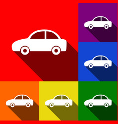car sign set of icons with vector image