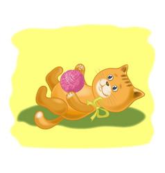 cartoon cat with a ball of wool yarn vector image
