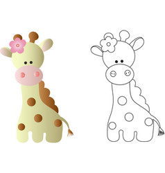 Cartoon cute baby giraffe - in color and line art vector