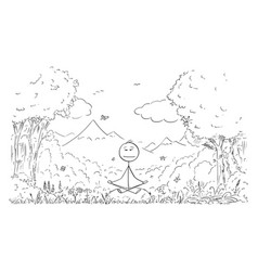 Cartoon man meditating surrounded nature vector