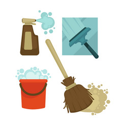 cleaning equipment and chemical means isolated vector image
