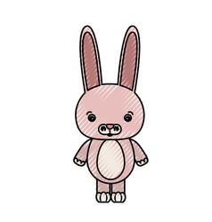 color crayon silhouette caricature cute rabbit vector image