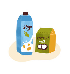colorful composition soymilk and coconut milk vector image