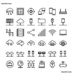 computer networks database icons perfect pixel vector image