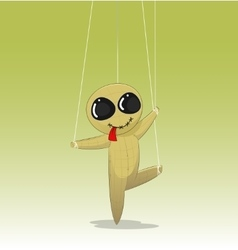 Concept of manipulating with fun cartoon doll vector