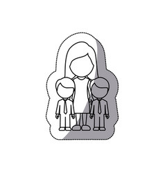 contour woman her boys twins icon vector image