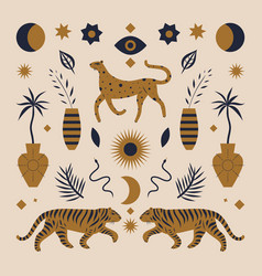 cute boho leopard and tigers vintage chinese vector image