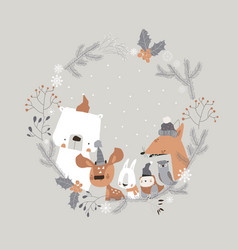 cute cartoon animals meeting holiday in winter vector image