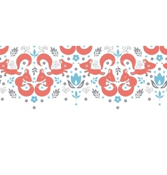 Cute foxes horizontal seamless pattern background vector image