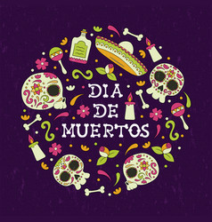 day dead mexican skull decoration card vector image