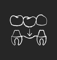Dental prosthetics chalk white icon on black vector
