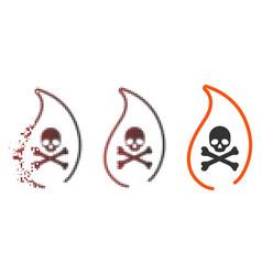 Destructed pixel halftone mortal flame icon vector