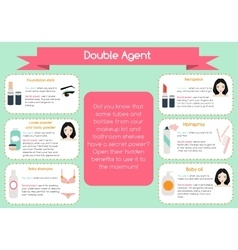 Double agent beauty tips infographic vector