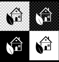 eco friendly house icon isolated on black white vector image