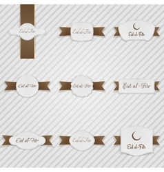 Eid al-Fitr realistic Labels with Text and Ribbons vector