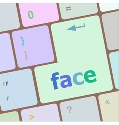 face word on keyboard key notebook computer vector image vector image