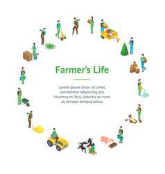 Farmers at work 3d banner card circle isometric vector