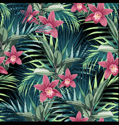 ficus palm leaves and pink orchid flowers vector image