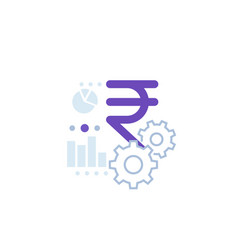 financial icon with indian rupee vector image
