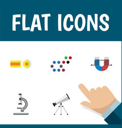 Flat icon science set of molecule glass chemical vector