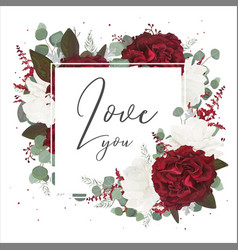 Floral greeting card with red and white roses vector