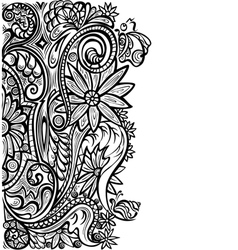 Floral pattern black white vector
