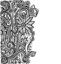 Floral pattern black white vector image