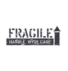Fragile arrow up isolated grunge box sign for vector