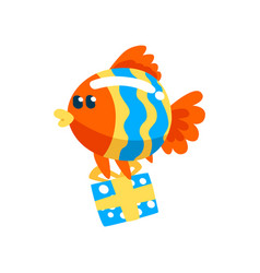 funny fish with gift box cute little sea creature vector image