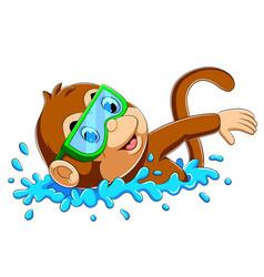 Funny monkey swimming vector