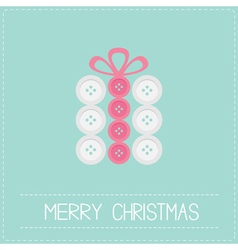 Gift box made from white pink buttons Appligue vector image