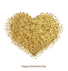 Golden hearts with sparkles for valentines day vector