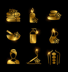 Golden spa massage relaxing icons of set vector