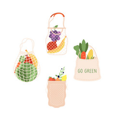 grocery bags shopping food bag organic vector image