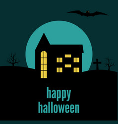 happy halloween lonely house vector image