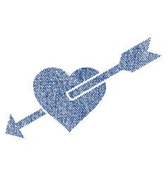 heart arrow fabric textured icon vector image
