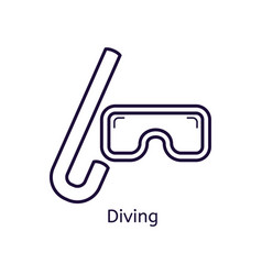 Icon of diving mask on a white background vector